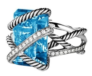 David Yurman David Yurman Sterling Silver .925 Diamond Blue Topaz Cable Wrap Ring