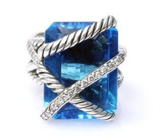 David Yurman David Yurman Blue Topaz Cable Wrap Ring