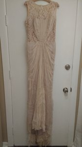 BHLDN Bisque Silk Chiffon and Lace Flora Gown Vintage Wedding Dress Size 12 (L)