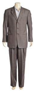 Armani Collezioni Armani Collezioni Charcoal Plaid Wool Men's Two Piece Suit (Size 42R)