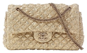 Chanel Gold Fabric Flap Ch.j1116.10 Shoulder Bag