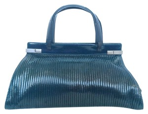 Stephane Kelian Patent Leather Satchel in Navy Blue
