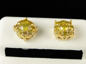 10k Mens Ladies Yellow Gold Mm Canary Diamond Cluster Stud Earrings 1.09 Ct