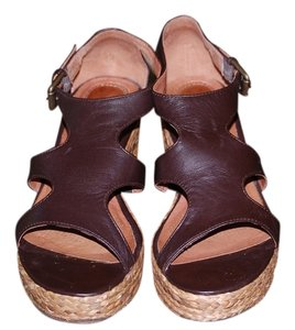 Ballasox by Corso Como Leather Wedge Platform Coffee Sandals