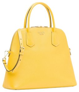 Prada Logo Gold Hardware Leather Satchel in yellow