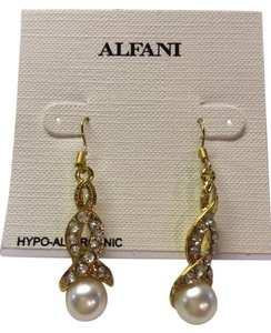 Alfani Alfani Faux Diamond and Pearl Gold Dangley Earrings