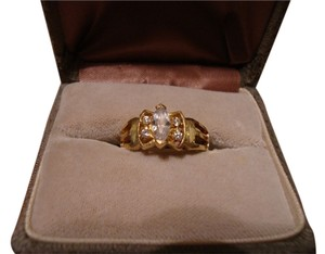 Vintage 14k Solid Yellow Gold Ladies Ring Engagement Cocktail 3.7g Size 7.75