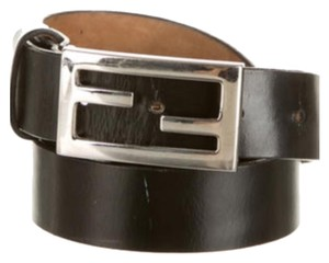 Fendi Fendi Black Leather Logo Belt