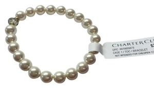 Charter Club Faux White Pearls Elastic Bracelet