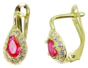 Sell now Pink Spinel 14K Yellow Gold Solid French Back Earrings Drop Dangle Hoop1.40gr