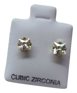 Two Pair Cubic Zirconia White Faux Diamond Stud Earrings 1/8 Carat. Brand New