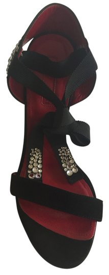 Cesare Paciotti Sexy High Wedge Ankle Wrap Rhinestones Sandal Formal Suede High Heels Red Insoles black Platforms