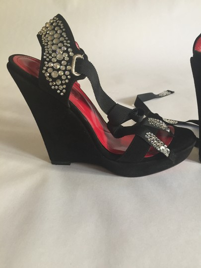Cesare Paciotti Sexy High Wedge Ankle Wrap Rhinestones Sandal Formal Suede High Heels Red Insoles black Platforms Image 6