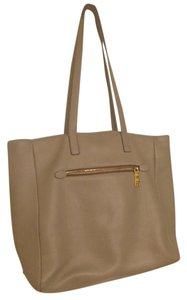 Prada Taupe Leather Tote in gray