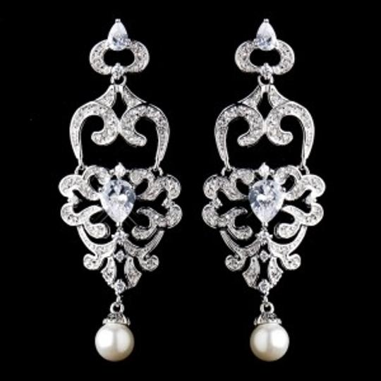 Elegance by Carbonneau Silver Pearl and Cz Chandelier Earrings