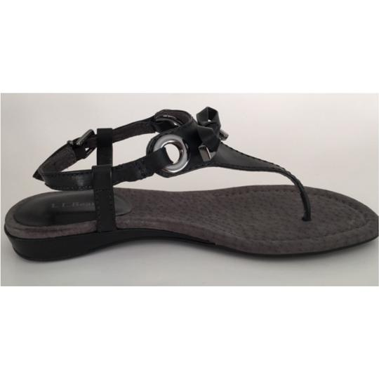 L.L.Bean Leather Leather Leather Thong Thong Leather Leather Thong Leather Birch Haven Bow Thong Blac Sandals Image 1