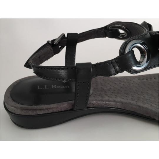 L.L.Bean Leather Leather Leather Thong Thong Leather Leather Thong Leather Birch Haven Bow Thong Blac Sandals Image 4