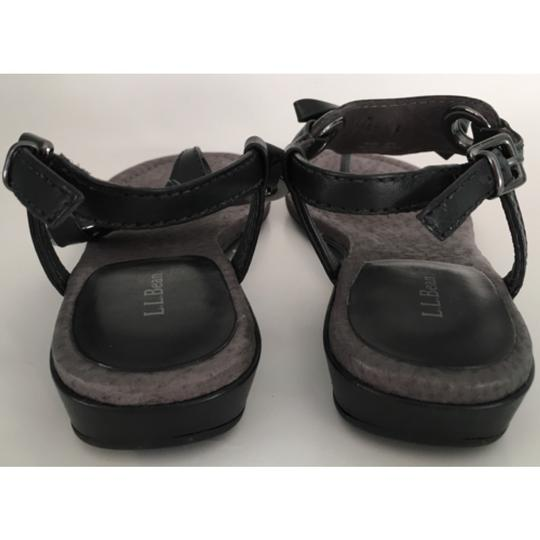 L.L.Bean Leather Leather Leather Thong Thong Leather Leather Thong Leather Birch Haven Bow Thong Blac Sandals Image 5