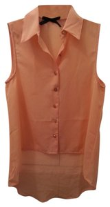 Ali & Kris Sleeveless Gold Button Top Coral