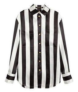 Balmain x H&M Hm Womens Blackwhite Silk Striped Shirt Top Multi-Color