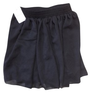 Lace Girl Chiffon Waist Elastic Mini Skirt black