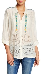 Johnny Was Cupra Rayon Lace Trim Edgy Embroidered Tunic