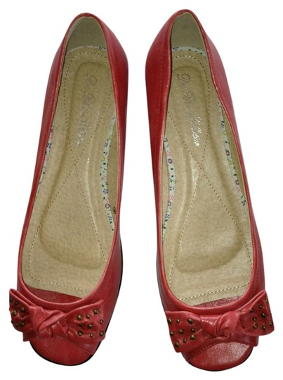 De Blossom Collection Peep Toe Coral/Pink Flats