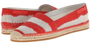 Burberry Hodgeson Coral Stripe Made In Spain Spadrilles Red Flats