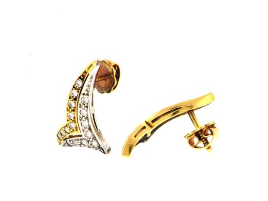 Other STEAL & WHOLESALE - 18K gold & diamond chevron stud earrings