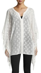 Max Studio Lace Trim Edgy Embroidered Fringe Hem Tunic