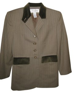 Jones New York Vintage Velvet Pockets Classy Olive Green Blazer