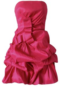 Daisy Hot Fuscia Prom Night Out Sexy Fun Barbie Ruffle Strapless Dress