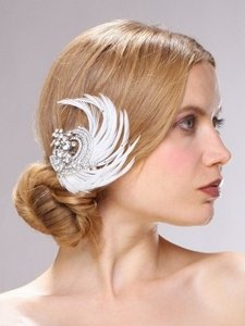 Mariell Silver/Ivory Gatsby Style Crystal Feather Clip Hair Accessory