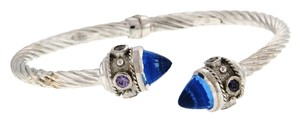 Other WOW WHOLESALE STEAL - Italian 14K White gold with blue finial with round colorless and purple stones hinged bangle bracelet