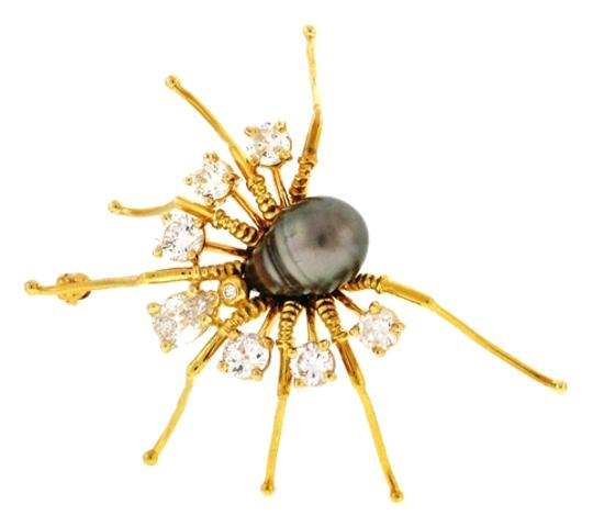 Other Most stunning Diamond (huge ones) and 18k gold Spider pin with a stunning south sea pearl