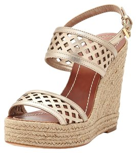 Tory Burch Perforated Metallic Leather Sandal. 5