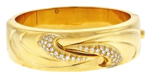 STEAL- MUST SEE - Italian 18k gold 1 2/5 carats diamond pave hinged cuff bracelet