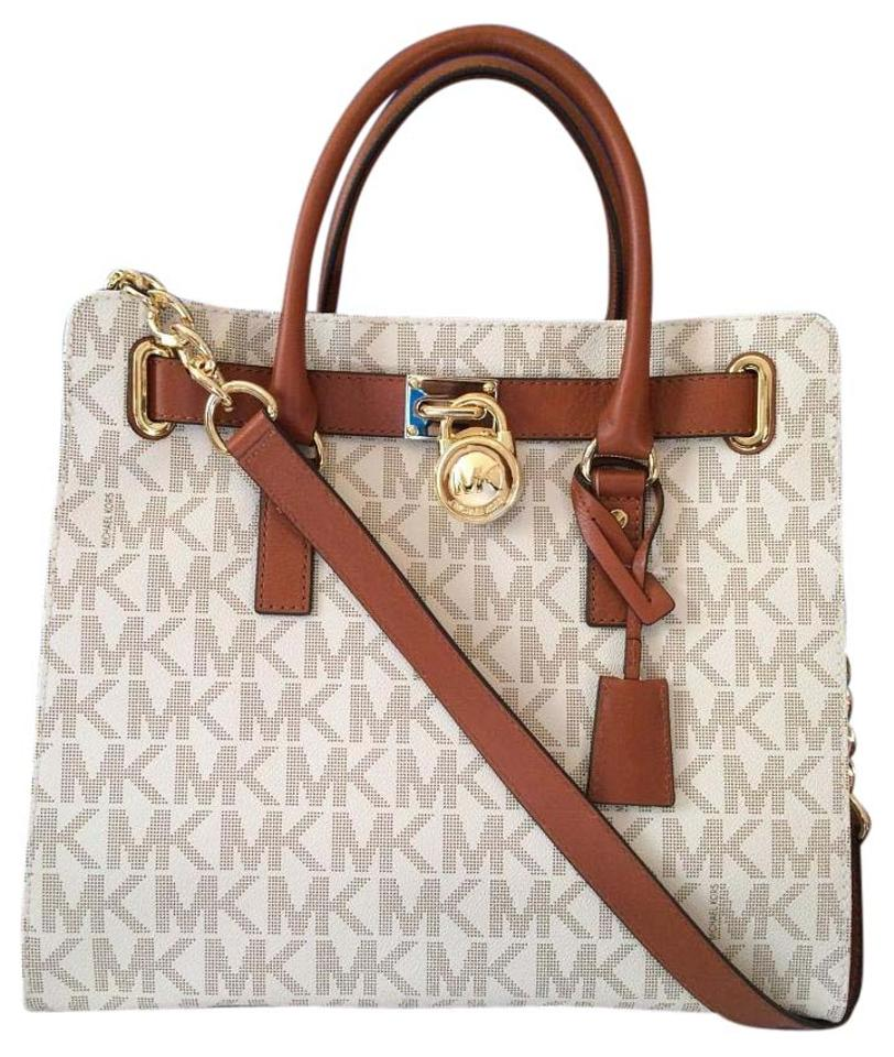 8a1716528d91 Michael Kors Large Hamilton Monogram Lock and Key Chain New with Tags  Vanilla Signature Gold Hardware Pvc Leather Tote