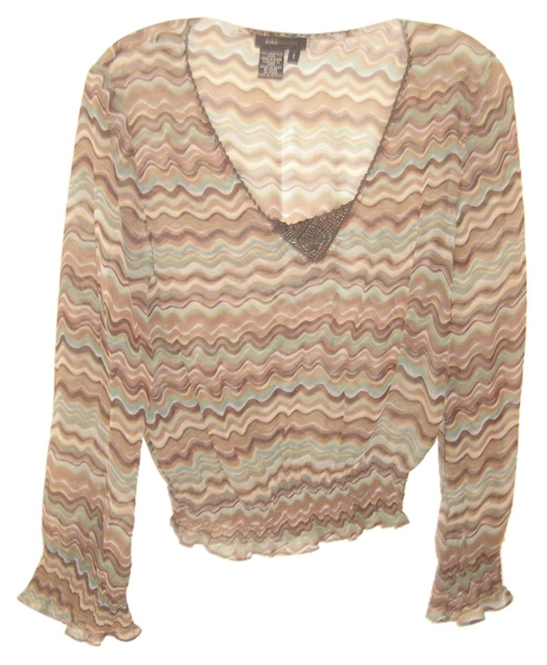 BCBGMAXAZRIA Flared Brown Sheer Green Line Blouse Sleeves Sexy Print Wavy vYvrqwnxfR