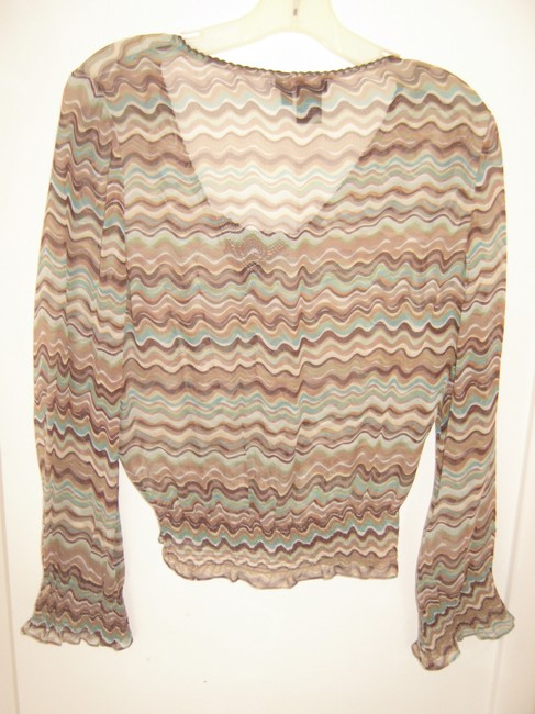 BCBGMAXAZRIA Sheer Flared Sleeves Sexy Top Brown/Green Wavy Line Print