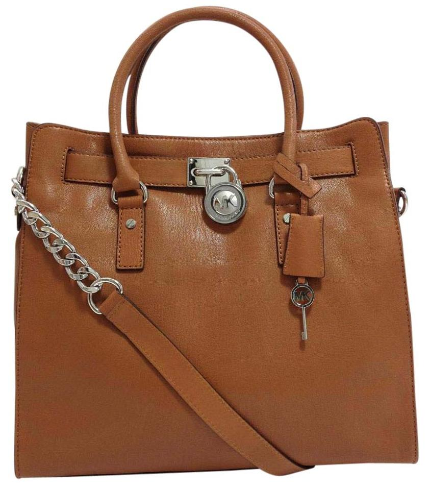 Michael Kors Lock And Key Large Hamilton Tote In Luggage Brown Silver Tone Hardware