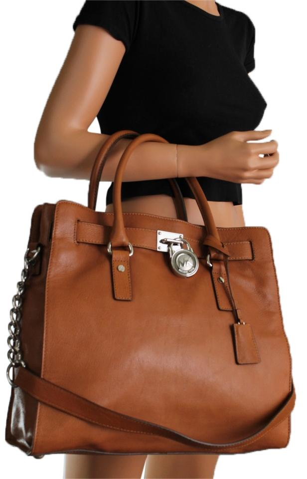 Michael Kors Hamilton Large New With Tags Lock And Key Luggage Brown Silver Hardware Leather Tote Tradesy