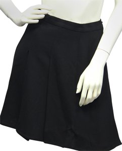 Chanel Black Box Pleated Wool Mini Skirt