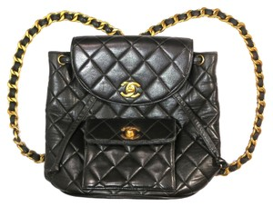 Chanel Vintage Chain Leather Quilted Backpack
