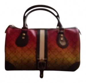 L.A.M.B. Satchel in green, red, yellow, with black, white, and brown,