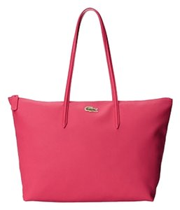 Lacoste Gold Side Poket Shopping Tote in VIrtual Pink