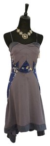 purple, grey, navy, blue Maxi Dress by Free People Hi Lo Floral Silk Strapless