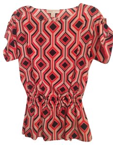 MICHAEL Michael Kors Mk Size 12 Polyester Top Coral/Navy