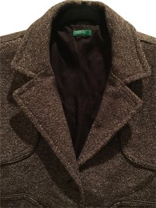United Colors of Benetton Wool Jacket Brown leather edges Blazer