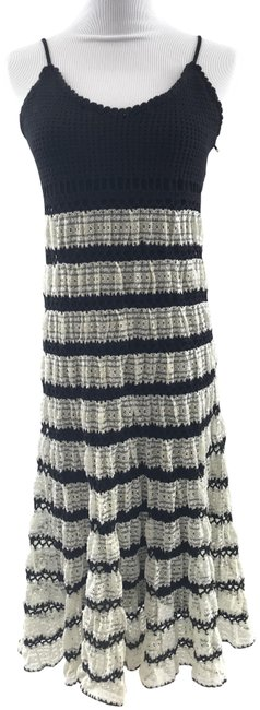 Item - Black & Off White And Crochet Summer Long Short Casual Dress Size 8 (M)